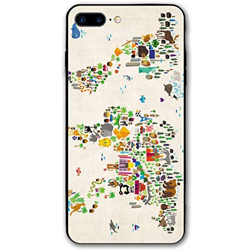 Xianjing iPhone 7 Plus Case/iPhone 8 Plus Case Colorful World Map Anti-Scratch PC Rubber Cover Lightweight Slim Printed Protective Case