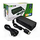 Xbox 360 Slim AC Adapter Power Supply Brick for Puning Power Supply 135W Power Supply Charger Cord for Xbox 360 Slim Console 100-120V-Black