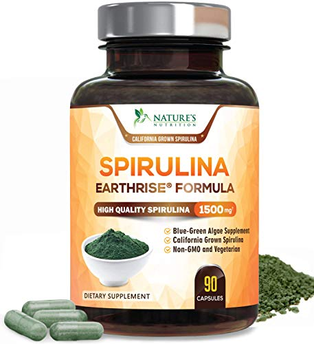 Spirulina Capsules Natural Blue Green Algae Pills 1500mg - High Quality Non-GMO California Blue Spirulina Powder Supplement, Vegan Superfood Rich in Minerals & Vitamins, Non-Irradiated - 90 Capsules