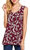 POGTMM Women's Summer Sleeveless Tops Scoop Neck Casual Loose Pleated Tunic Tank Top (L, 004Floral)