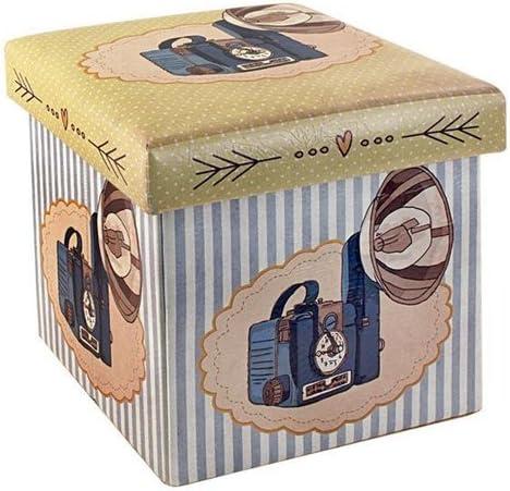 Caja Taburete Retro Camara Fotos 33x33 cm: Amazon.es: Hogar