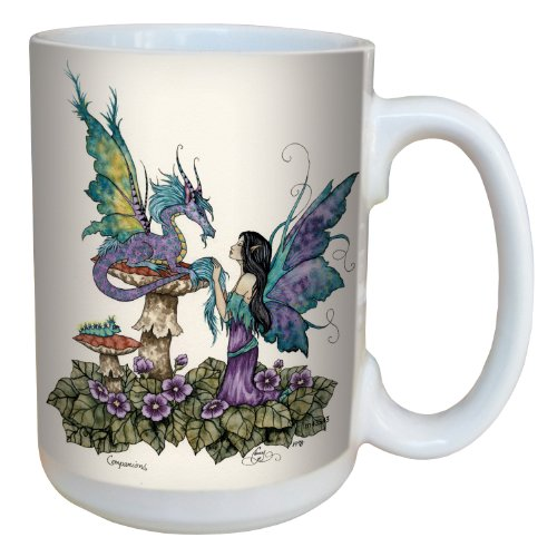 (Tree-Free Greetings lm43543 Fantasy Companions Dragon and Fairy Ceramic Mug with Full Sized Handle by Amy Brown, 15-Ounce )