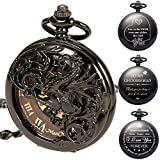 ManChDa Mens Antique Skeleton Mechanical Pocket Watch with Chain- Dragon Hollow Hunter (9.Personalized)
