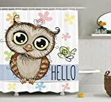 Owl Shower Curtain Ambesonne Owl Shower Curtain Kids Decor, Cartoon Animal Butterfly on Floral Background with Hello Message Colorful Daisies Print, Fabric Bathroom Set with Hooks, 75 Inches Long, Multicolor