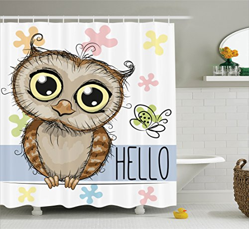 66 X 72 Inch · Funny Shower Curtain Owl Decor By Ambesonne, Cartoon Owl And  A Butterfly On A Floral