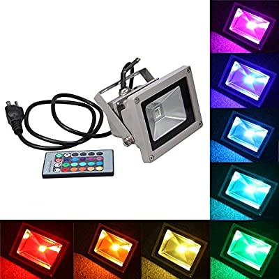 RCLITE 10W 900LM RGB Waterproof LED FloodLight Flood Light 16 Different Color Tones with US 3-Plug & Remote Control For Outdoor Hotel Garden Show Window
