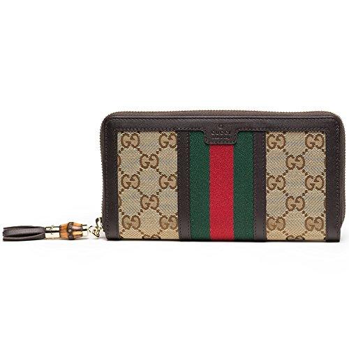 eb5b7aef435 Gucci Bamboo Bronze Diamante Canvas Clutch Zip Around Wallet 224253 ...