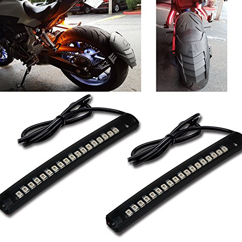 Racbox Universal LED Strip Light Harley Davidson Honda Tail Brake Stop Lamp Light Turn Signal 18LED for Motorcycle Bike Pack of (Motorcycle Led Tail Lights)