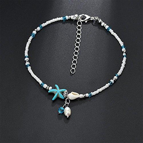 6 cm Milopon Bracelet de Cheville pour Femme avec Pendentif en Forme d/étoile de mer Turquoise 24