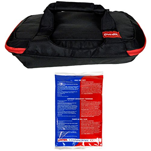 Pyrex 3 Quart 9 inch x 13 inch Black/Red Bakeware Carrying Tote and One Large Red/Blue Hot/Cold Pack