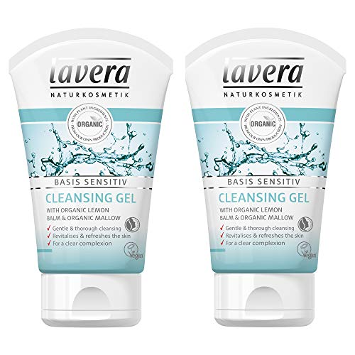 lavera Basis Sensitiv Facial Cleansing Gel (Pack of 2) Natural & Organic Face Wash with Lemon Balm & Mallow gently remove make-up, excess oil & impurities for clean pores & fresh feeling skin - 4 Oz