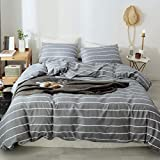 3 PCS Duvet Cover Set, Microfiber Soft Printed Duvet Cover Bedding Set King Queen Pillowshams(Stripe,Queen)