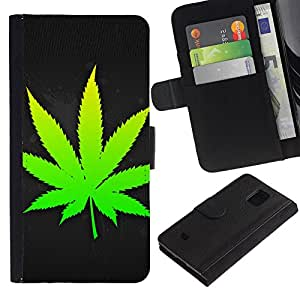 Billetera de Cuero Caso Titular de la tarjeta Carcasa Funda para Samsung Galaxy S5 Mini, SM-G800, NOT S5 REGULAR! / Weed Leaf / STRONG