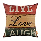 LINKWELL 18''x18'' Vintage Wood Slat Live Love Laugh Words Burlap Throw Pillow Case Cushion Cover (CC1125)