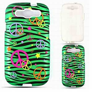Cell Armor SAMI747-PC-JELLY-TE320-S Hybrid Fit-On Jelly Case for Samsung Galaxy S3 - Retail Packaging - Trans. Peace Signs on Green Zebra by mcsharks