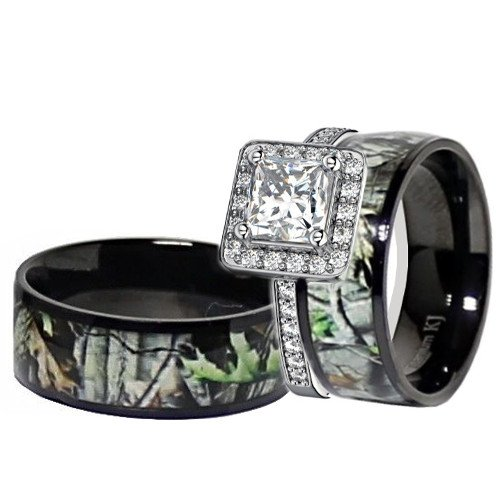 His & Her Black Titanium Camo Sterling Silver Engagement Wedding Ring Set (Size Men 9; Women 9)