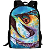 CY-STORE Awesome Sea Animal Fish Print Custom Casual School Bag Backpack Travel Daypack Gifts