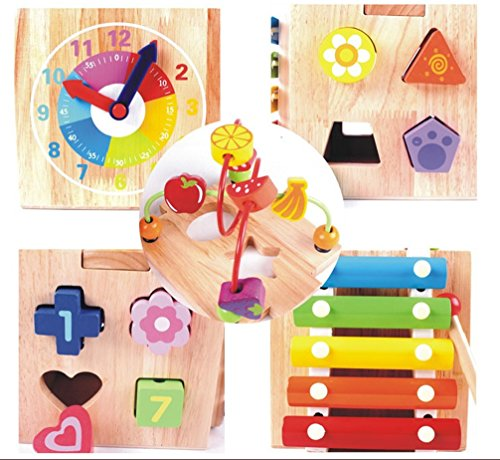 Wooden 5 Functioned Box Cube  Slider Stringing Shape Matching Analogue Clock Xylophone Roller Coaster  For Kids