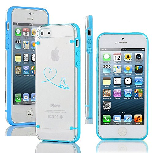 For Apple iPhone 5 5s Ultra Thin Transparent Clear Hard TPU Case Cover Heart Love Ice Skating (Light Blue) (Iphone 4s Ice Skating Case)