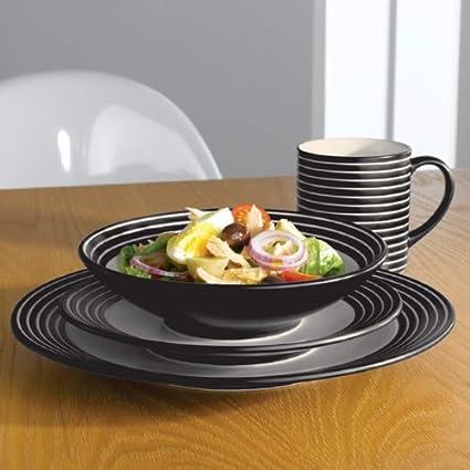 Amazon.com: Denby Intro 16 Piece Stripe Dinnerware Set, Black: Home ...