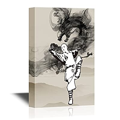 Canvas Wall Art - Man Practicing Taiji The Traditional Chinese Martial Art - Gallery Wrap Modern Home Art   Ready to Hang - 12x18 inches