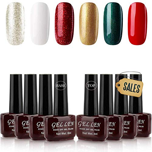Gellen Christmas Holiday Series 6 Colors Gel Nail Polish with Top Coat Base Coat Kit - Special Winter Gel Collection Home Gel Manicure Set