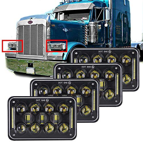 COWONE 60w 4x6 inch LED Rectangular Headlights Replacement for H4651 H4652 H4656 H4666 H6545 Peterbil Kenworth Freightinger 4Pcs