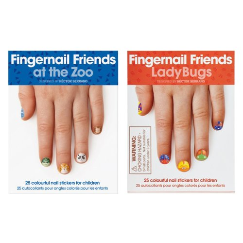 Fingernail Friends Colorful Nail Stickers Nail Art for Children, Ladybugs & Zoo Animals (50 Stickers)