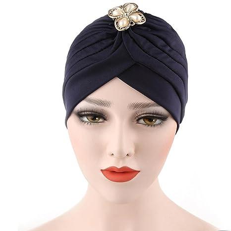 Twisted a pieghe elasticizzato da donna diamanti Musulmano Swim Bathing  turbante della testa 55bac9c89b25