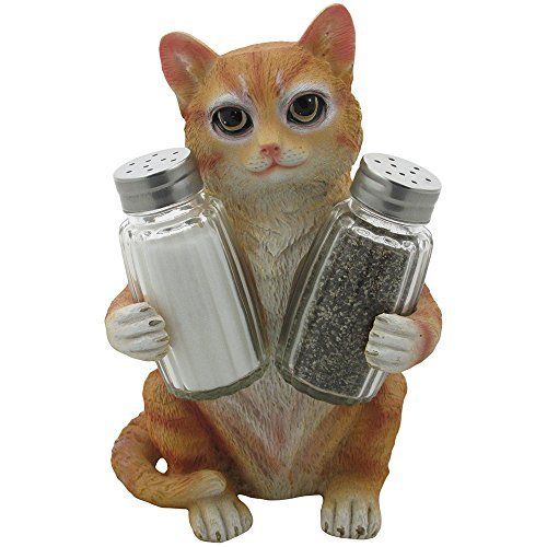 Orange Tabby Kitty Cat Glass Salt & Pepper Shaker Set with Holder Figurine in Decorative Pet Statues and Sculptures As Kitten Kitchen Table Decoration Gifts for Cat Owners by Home-n-Gifts