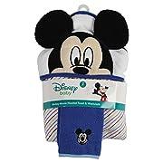Disney Mickey Mouse Stripes Hooded Bath Towel and Washcloth, Blue