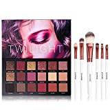 UCANBE 18 Color Eyeshadow Palette + 6pcs Multifunction Makeup Brushes Set Kit, Highly Pigmented Matte Shimmer Blending Eye Shadow Powder Pallet