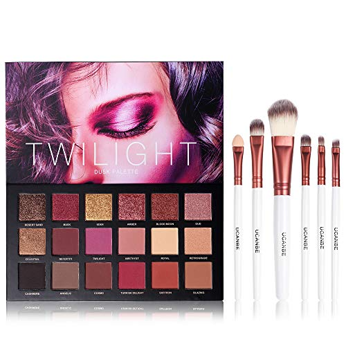 - UCANBE 18 Color Eyeshadow Palette + 6pcs Multifunction Makeup Brushes Set Kit, Highly Pigmented Matte Shimmer Blending Eye Shadow Powder Pallet