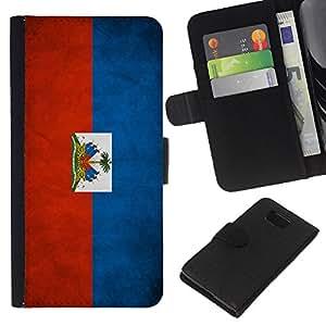 EJOY---La carpeta del tirón la caja de cuero de alta calidad de la PU Caso protector / Samsung ALPHA G850 / --Nacional bandera de la nación País Haití