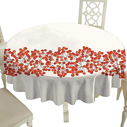 plaid round tablecloth 65 Inch Rowan,Border with Wild Red Mountain Ashes on Twigs Hand Painted Natural Artwork Print,Orange and Pearl Suitable for Party,outdoors,Farmhouse,coffee shop,restaurant ()