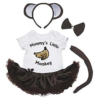 Petitebella Mommy's Little Monkey Banana Bodysuit Brown Tutu 4pc Set Nb-18m (3-6 Months)