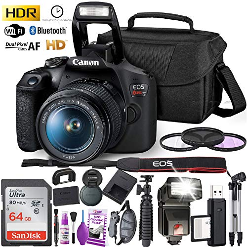 Canon Rebel T7 DSLR Camera with 18-55mm Lens and 64GB Ultra Speed Memory Card, Case, Cleaning Kit, Flash, and More Fully Loaded Bundle
