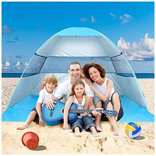 Wilwolfer-Beach-Tent-Pop-Up-Sun-Shelter-Plus-Cabana-Automatic-Canopy-Shade-Portable-UV-Protection-Easy-Setup-Windproof-Stable-with-Carry-Bag-for-Outdoor-3-or-4-Person-Blue