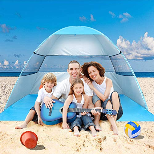 wilwolfer Beach Tent Pop Up Sun Shelter Plus Cabana Automatic Canopy Shade Portable UV Protection Easy Setup Windproof Stable with Carry Bag for Outdoor 3 or 4 Person (Blue) (Best Pop Up Shade Canopy)