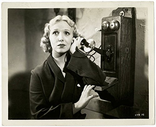 Vintage 1930s Karen Morley Antique Telephone Pre-Code Dramatic Photograph From The Collection of Pulp Illustrator Norman Saunders