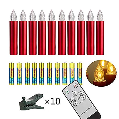 Set of 10 Red LED Christmas Tree Candles with Remote Control,Batteries Included, Flickering Flame Candles with Removable Clips,LED Window Candles, Holiday and Christmas Decoration