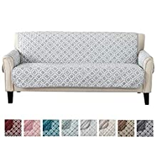 """Reversible Couch Cover for 3 Cushion Couch. Printed Sofa Covers for Living Room with Secure Straps. Protect from Kids, Dogs and Pets. (74"""" Sofa, Storm Grey)"""
