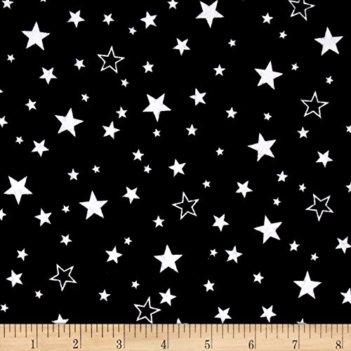 Robert Kaufman Cozy Cotton Flannel Stars Black Fabric by The Yard