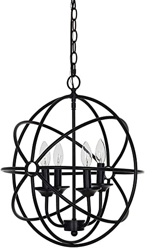 Ravenna Home Open Round Ceiling Pendant Chandelier with 4 LED Light Bulbs – 16 x 16 x 18.50 Inches, Matte Black