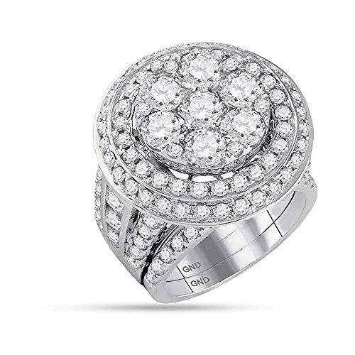 14k White Gold Diamond Cluster Engagement Ring + Wedding Band Bridal Set 7.00 ct