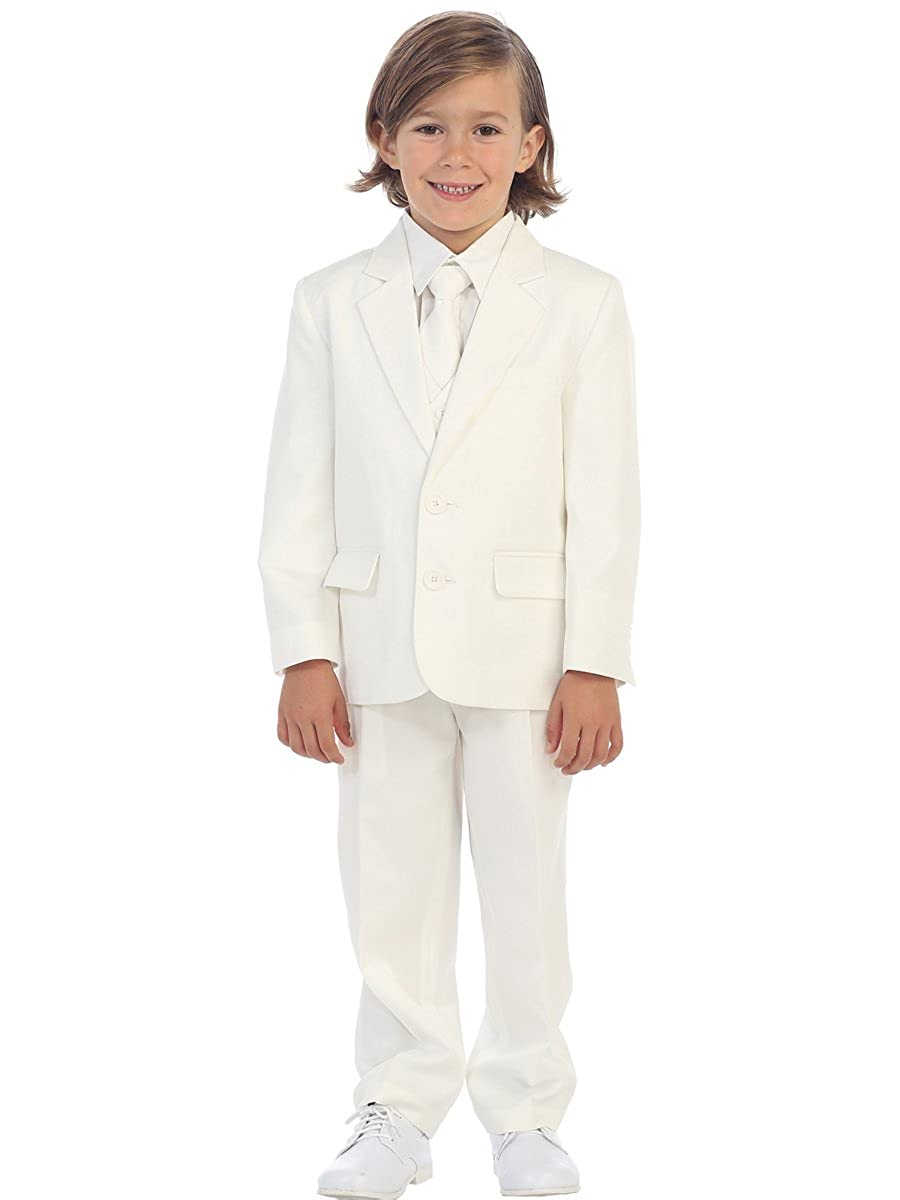 5-Piece Boys 2-Button Suit Tuxedo 5 Colors Black White Ivory Khaki Light Gray