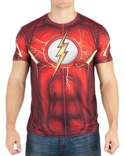 DC Comics Mens Flash Suit Up Sublimated Costume T-Shirt (X-Large) Red]()