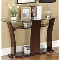 Tempered Glass Top Console Table Side Table by Poundex