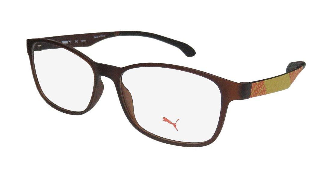 Puma 15441 Mens/Womens Designer Full-rim Popular Style Affordable Eyeglasses/Eye Glasses (53-15-140, Brown/Yellow / Orange)