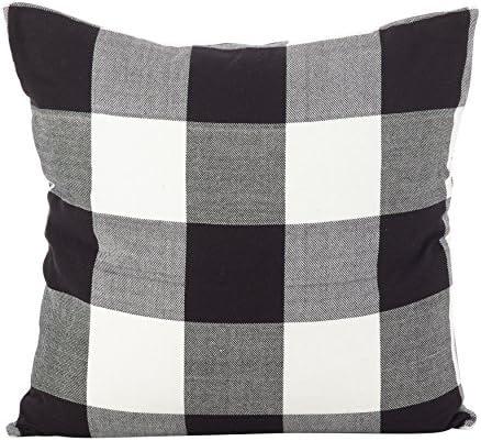 SARO LIFESTYLE Buffalo Check Plaid Design Cotton Down Filled Throw Pillow, 20 , Black